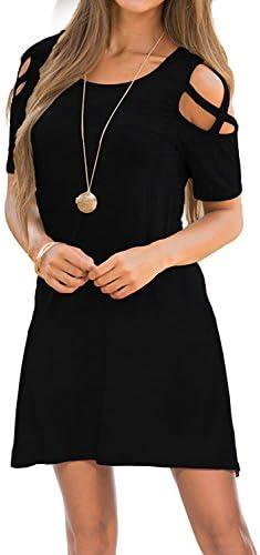 여성용 드레스 콜드 숄더 라운드 넥 루즈 튜닉 캐주얼 티셔츠 드레스 / 여성용 드레스 콜드 숄더 라운드 넥 루즈 튜닉 캐주얼 티셔츠 드레스