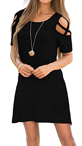 KATEKATECAT Womens Dresses Cold Shoulder Round Neck Loose Tunic Casual T Shirt Dress Black S