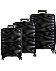 Set de Maletas de Viaje Juego con 3 Piezas Hardside Equipaje Rígido Resistente 4 Ruedas Giratorias 360 Color Negro