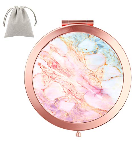 (Dynippy Compact Mirror Round Rose Gold MakeUp Mirror Folding Mini Pocket Mirror Portable Hand Mirror Double-sided With 2 x 1x Magnification for Woman Mother kids Great Gift - Pink Marble)