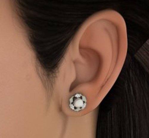 14 K Or blanc 0,15 CT TW White-diamond (IJ | SI) et blanc perle Boucles d'oreille à tige