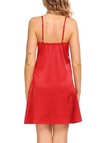 da Ekouaer Camicia Red Donna notte aUP5q