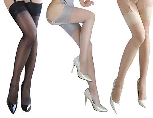 Rose Sakura ultra thin sheer thigh high rib top stockings 3 PAIRS Pack by Jetsan (3 pairs black grey nude) - Exotic Belts