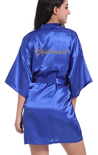 DF-deals Women's Satin Kimono Robe for Bridesmaid and Bride Wedding Party Getting Ready Short Robe with Gold Glitter (Blue Gift Set)