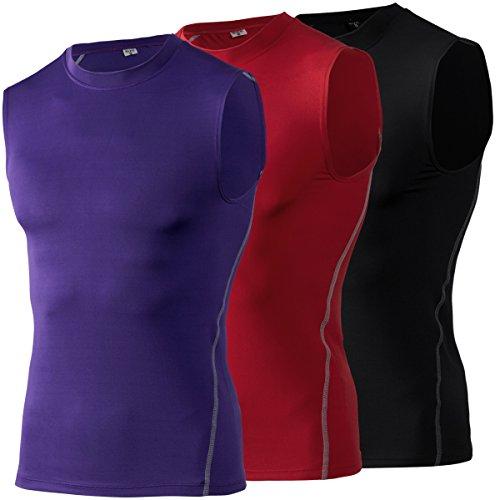 MAGNIVIT Men's Film Super-Hero Series Compression Sports Shirt Skin Running Short Sleeve Tee Red/Black/Purple