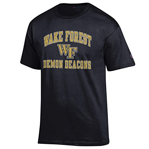 Champion NCAA Men's Shirt Short Sleeve Officially Licensed Team Color Tee, Wake Forest Demon Deacons, ()