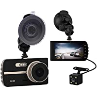 AlwaysOnline 4 IPS Screen FHD 1080P Front + Rear 290 Degree Angle Car Dash Cam with G-Sensor, Motion Detection, Parking Mode etc.