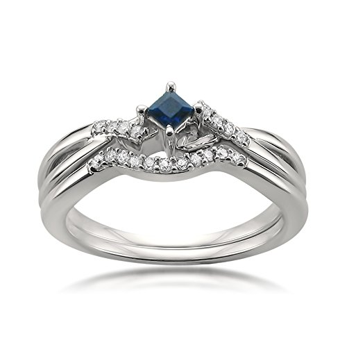10k White Gold Princess cut Sapphire & Round Diamond Engagement Bridal Set Ring (1/5 cttw, I J, I1 I2)