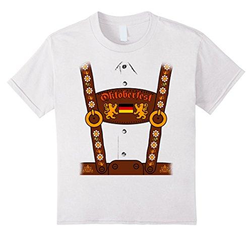 Kids German Oktoberfest Lederhosen Costume Funny T-Shirt 8 White (German Costumes For Kids)