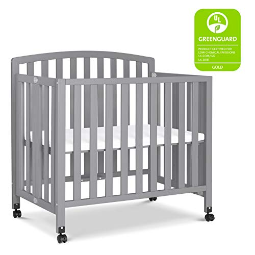 DaVinci Dylan Folding Portable 3-in-1 Mini Crib and Twin Bed in Grey | Greenguard Gold Certified