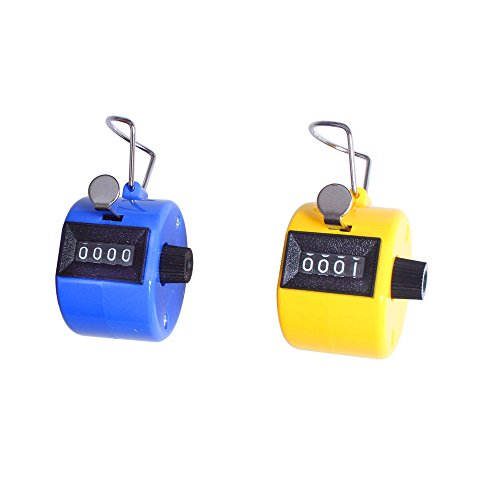 Xbes 4 Digit Manual Hand Tally Counter Golf Clicker lap counter lap tracker with Finger Ring (Pack of 2 pcs)