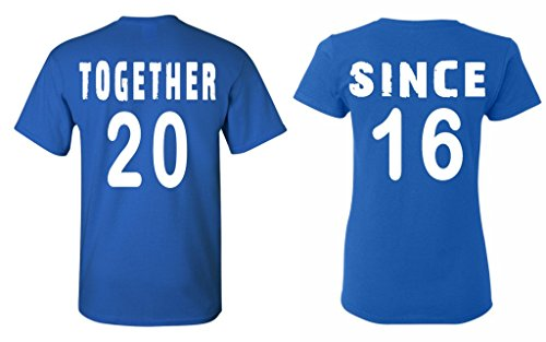 Shop4Ever Couples Matching Shirts Together Since 2016 T-shirt -- Men Medium R. Blue// Women Small R. - 2016 Rb