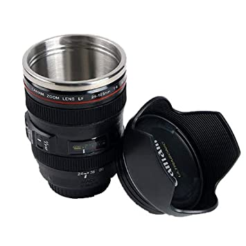 07ad598f775 Image Unavailable. DSLR 24-105mm Camera Lens Cup Stainless Steel Coffee Tea  Mug 400ml ...
