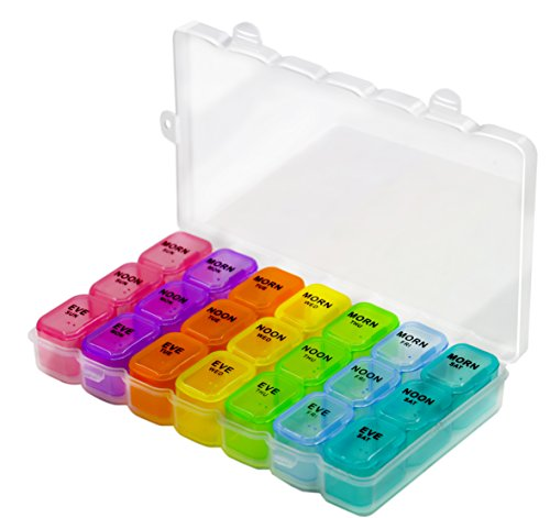 Lid Dispenser Box (Pill Organizer Box with Snap Lids| 7-day AM/PM | Larger Compartments for Bigger Pills, Multi color)