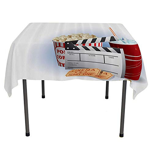 Movie Theater Non Slip Tablecloth Soda Tickets Fresh Popcorn and Clapper Board Blockbuster Premiere Cinema Cloth Spill-Proof Tablecloth Spring/Summer/Party/Picnic 50 by ()