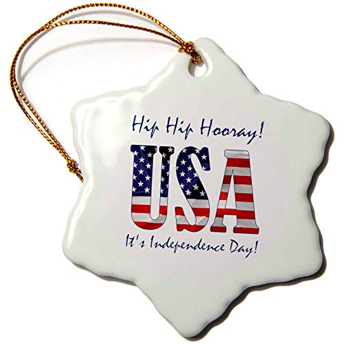 3dRose Alexis Design - Holidays Independence Day - USA Text, The American Flag. Hip Hip Hooray, It is Independence Day - 3 inch Snowflake Porcelain Ornament (ORN_315792_1)