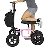 Vive Knee Walker - Steerable Scooter for Broken Leg, Foot, Ankle Injuries - Kneeling Quad Roller Cart - Orthopedic Seat Pad for Adult and Elderly Medical Mobility - 4 Wheel Caddy Crutch - (Pink)