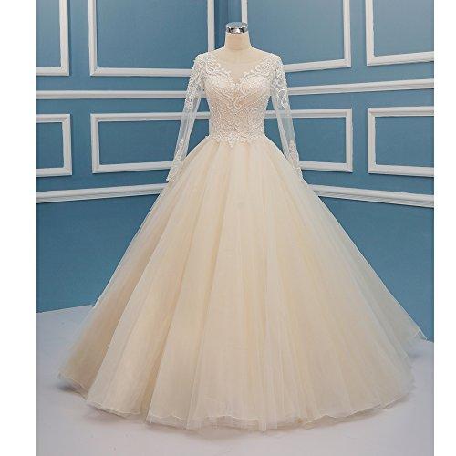 Sleeveless Wedding Gown Dresses Appliqued Champagne Princess BiYiGe Lace S3171 Ball pRtnZWxqU