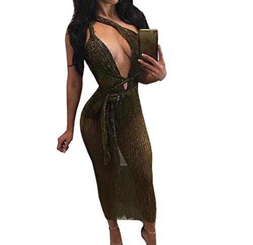 Tuesdays2 Deep V Neck Bandage Mesh Glitter Dress for Women (L, Brown) (Glitter Mesh Dress)