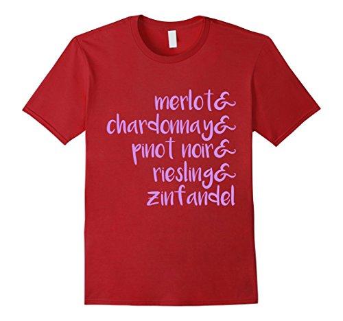 Chardonnay Pinot (Mens Wine T-Shirt | Wine Lover Shirt | Merlot Chardonnay Pinot Large Cranberry)