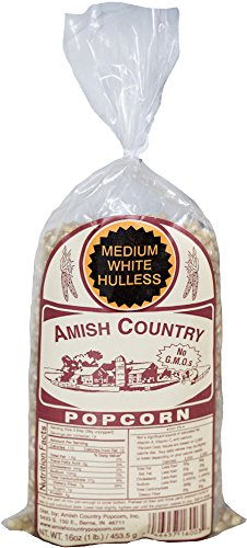 Amish Country Popcorn - Medium White Popcorn (1 Pound Bag) - Old Fashioned, Non GMO, Gluten Free, Microwaveable, Stovetop and Air Popper Friendly - Recipe Guide
