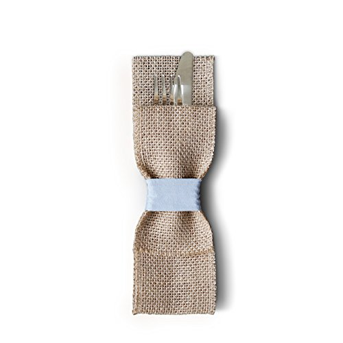 Rustic and Elegant Burlap Silverware Pockets (Pack of 12, Light Blue). Cutlery Pouches That are Great for Vintage Weddings, Dinner Parties & Table Setting (Country Themed Table Centerpieces)