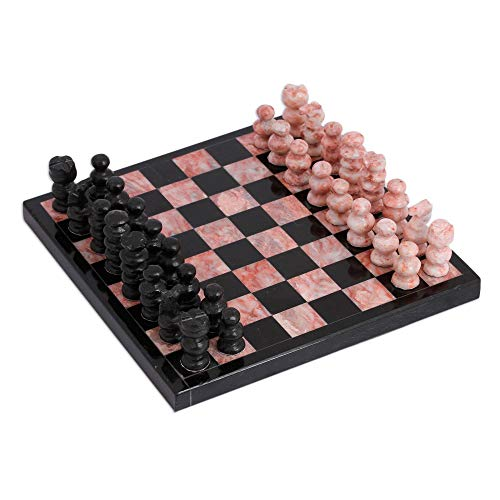 (NOVICA 339072 Black and Pink Challenge Small Marble Chess Set (7.5 in.) in,)