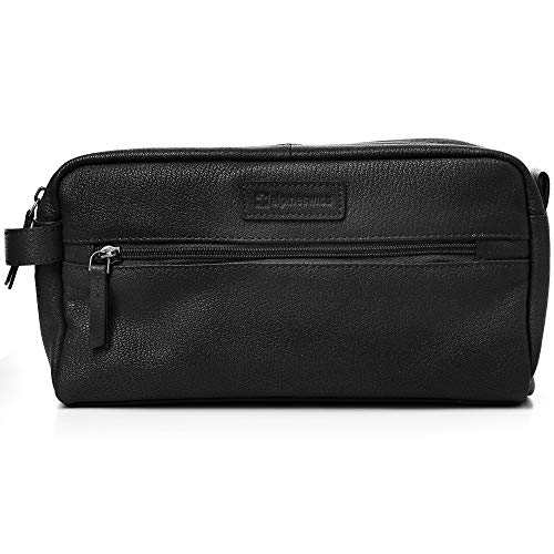 (Alpine Swiss Sedona Toiletry Bag Genuine Leather Shaving Kit Dopp Kit Travel Case Black)