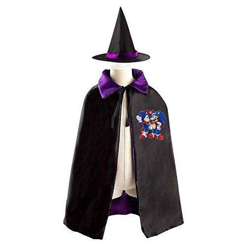 [DBT Sonic The Hedgehog and Mario Childrens' Halloween Costume Wizard Witch Cloak Cape Robe and Hat] (Sonic Halloween Costumes 1)