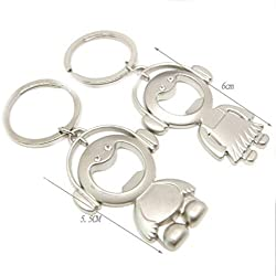 DKX Zinc Alloy Multifunctional Keychain Couples Keyring Valentine's day Present Gift Happy Baby Set Bottle Opener-As the picture