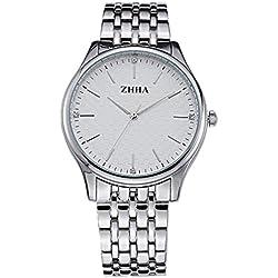 ZHHA Men's 041 Luxury Quartz Silver Stainless Steel Bracelet Wrist Watch Waterproof