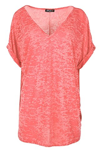 Womens Ladies Burnout V Neck Turn Up Sleeve Oversize Lagenlook Baggy T Shirt Top Sleeve V-neck Burnout Tee