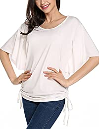 Women's Dolman Tops Side Shirring Loose Fit Round Neck Short Sleeve Top T-Shirts