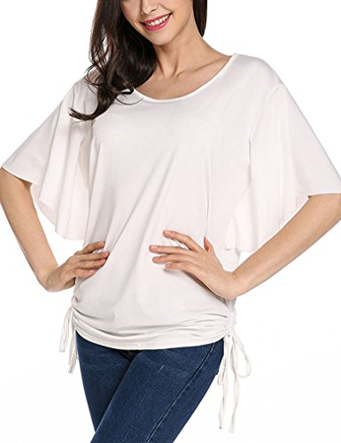 Womens Dolman Shirring Sleeve T Shirts