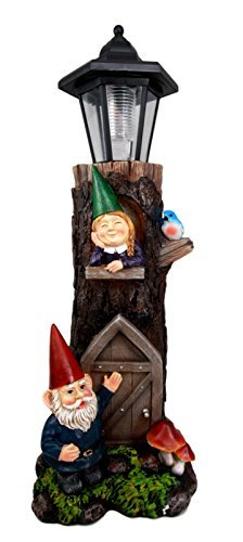 Atlantic Collectibles Whimsical Welcome Mr & Mrs Gnome In Tree House With Blue Bird Solar Path LED Light Garden Greeter Statue Home Decorative Patio Figurine Courtesy Light