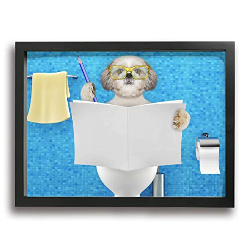 Baohuju Picture Frame Bathroom Wall Art Dog Sitting On A Toilet Seat With Reading Newspaper And Writing Prints Ready To Hang For Wall Decor