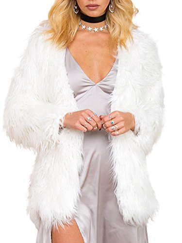 Simplee Apparel Women's Long Sleeve Fluffy Faux Fur Warm Coat,White,Size : Asian M,US 4]()