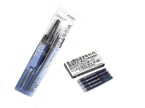 (Platinum Carbon Desk Fountain Pen, Super Fine (DP-800S#1) + Black Ink Cartridge (SPC-200#1))