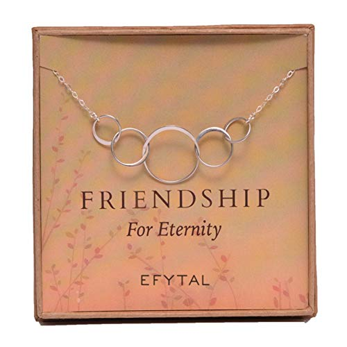 EFYTAL Five Friend Necklace 5 Sterling Silver Friendship Interlocking Infinity Circles Gift 4 Best Friends Group - 50th Birthday Present