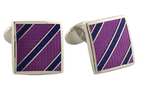 - David Donahue Sterling Silver Diagonal Stripes Cufflinks - Blue/Light Purple (H95540202)