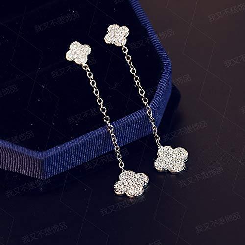 - Earrings earings Dangler Eardrop Women Girls Korean Creative Personality Sterling Silver Long Four-Leaf Clover Necklace Pendant Crystal Ear Wire Hypoallergenic Ear Jewelry