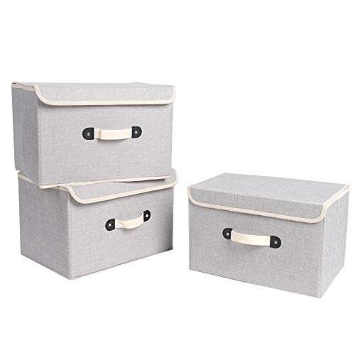 XIMIVOGUE Storage Boxes 3 Pack Linen Fabric Foldable Storage Cubes Bins Containers with Lids and Handles for Home, Office, Closet, Bedroom, Living Room (Grey)
