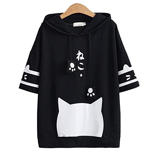 スペアアウトドア子パーカー レディース 猫柄 Tシャツ カップル 半袖 春夏 フード付き ゆったり 大きいサイズ 日系 かわいい オリジナル 柔らかい 潮流