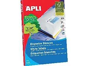 Apli 707522 - Pack de 100 etiquetas para impresora, 63.5 x 46.6 mm, color blanco
