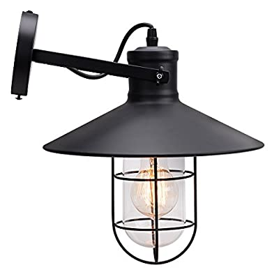 TRUVAN American Vintage Style Retro Industrial Warehouse Outdoor Wall Loft Restaurant & Bar Cage Wall Lamps Thick Iron Wall Sconce W/bulb Guard