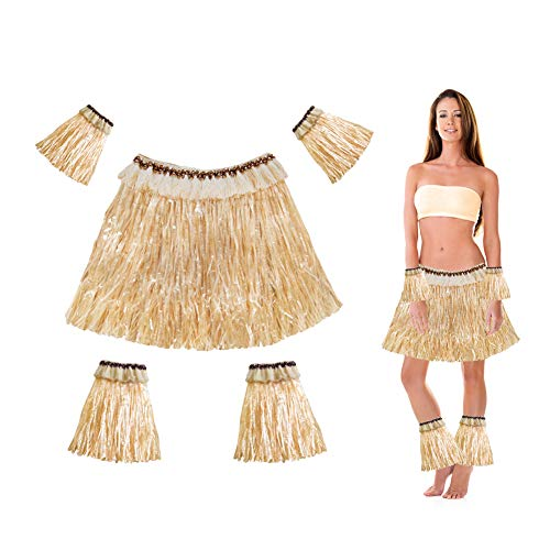 Summer Costume For Kids (Hangnuo Hawaiian Hula Grass Skirt with Bracelets for Adults and Kids, Summer Tropical Luau Party Costume)