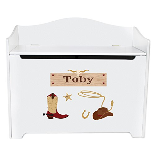 Personalized White Toy Box Bench Wild West Cowboy Room Decor