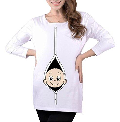 Cute Premaman Casual Maglietta Taglie Rotondo Gravidanza Shirt Manica Stampa Baby T Lunga Simpatiche Top Femminili Bluse Collo Donna White2 Forti Tayaho Top aBnCqw4