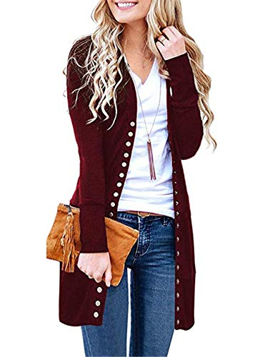 Womens Solid V Neck Button Down Knitwear Long Sleeve Snap Cardigan Sweater Wine Red
