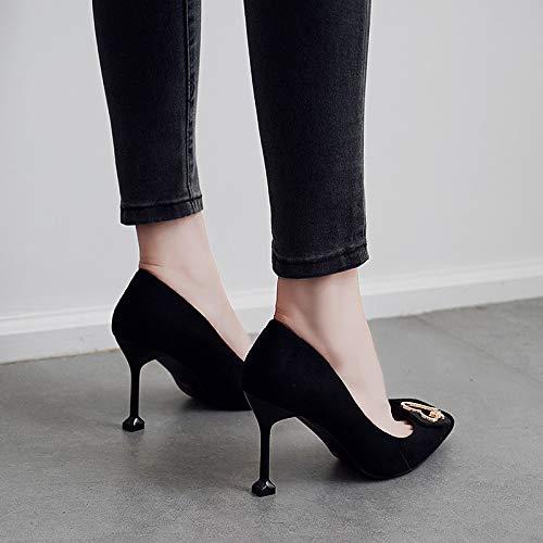 camoscio tacco black 36 bocca 7cm alto superficiale solo puntata scarpe dritta KOKQSX Ew0Pq